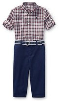 Ralph Lauren Poplin Tartan Shirt & Pants Set, Red Pattern, Size 9-24 Months