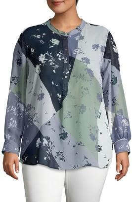 Vince Camuto Plus Long-Sleeve Floral-Print Top