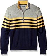 Izod Men's Fine Gauge Striped 1/4 Zip Sweater