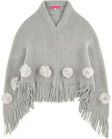Derhy Kids Poncho with fur bobbles