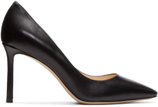 Jimmy Choo Black Leather Romy 85 Heels