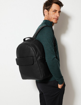 Marks and Spencer Black Leather Pocket Backpack
