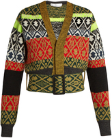 Toga Long-sleeved wool-blend jacquard cardigan