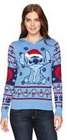 Hybrid Apparel Women's Santa Stitch Pompom Hoodie Holiday Sweater