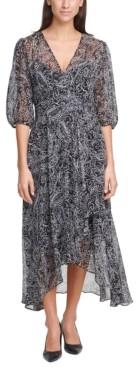 Calvin Klein Paisley-Print Chiffon Maxi Dress