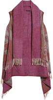 Etro Printed Fringed Wool-felt Poncho - Burgundy