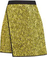 MSGM Wrap-effect woven cotton-blend mini skirt