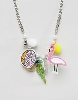 Asos Novelty Flamingo & Fruits Necklace