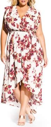 City Chic Monet Ecru Faux Wrap Maxi Dress