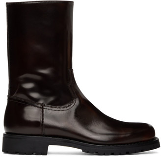 Dries Van Noten Brown Patent Zip-Up Boots