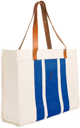 Cathy's Concepts Cathys Concepts Monogrammed Stitched Stripe Canvas Tote With