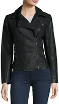 Max Studio Faux-Leather Moto Jacket, Black
