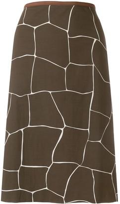 Miu Miu Pre Owned Giraffe Print Straight Skirt