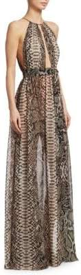 Elie Saab Animal Print Halter Gown