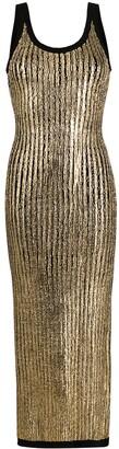 Balmain Cracked-Effect Long Dress