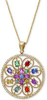 Effy Watercolors by Multicolor Sapphire (2-9/10 ct. t.w.) Tsavorite (1/5 ct. t.w.) and Diamond (1/3 ct. t.w.) Pendant in 14k Gold