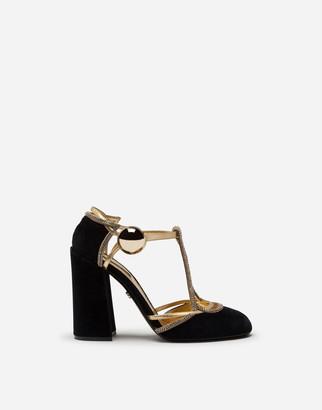 Dolce & Gabbana Velvet T-Straps Shoes With Decorative Button