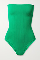 Thumbnail for your product : Hunza G + Net Sustain Audrey Nile Ribbed Bandeau Swimsuit