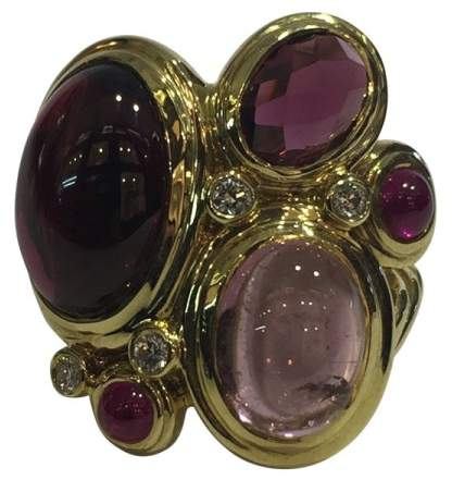 David Yurman 18K Yellow Gold with Rhodolite Garnet Pink Tourmaline Diamond and Ruby Ring Size 7.25