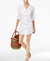 Dotti Sunny Stripe Crochet-Inset Cover-Up Shirt