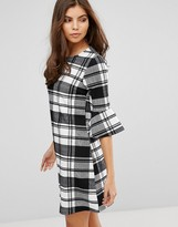 AX Paris Checked A-Line Dress With Frill Detail