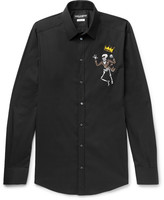 Dolce & Gabbana - Slim-fit Appliquéd Stretch-cotton Poplin Shirt