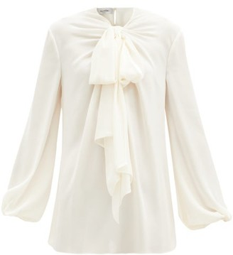 Valentino Pussybow-neck Silk-georgette Blouse - Ivory