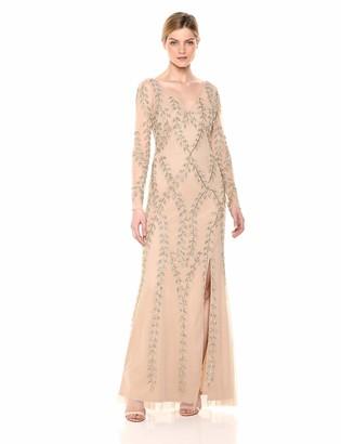 Adrianna Papell Women's Plus Size Long Beaded Dress