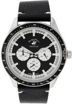 Beverly Hills Polo Club Mens Three Eye Black Leather Strap Watch