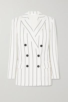 Anine Bing Ryan Double-breasted Striped Herringbone-jacquard Blazer - Off-white