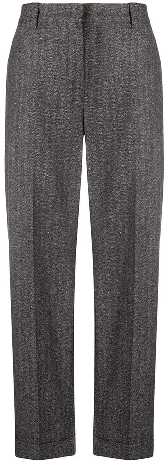 Pt01 Straight-Leg Herringbone Trousers