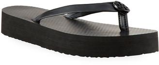Tory Burch Leather Medallion Flatform Sandals