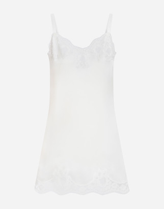 Dolce & Gabbana Slip Dress In Silk With Embroidery