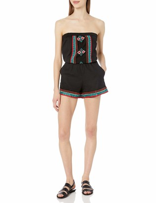 Angie Women's Black Embroidered Romper Small