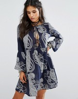 Glamorous Tie Front Dress In Paisley Print