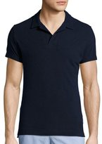 Orlebar Brown Felix Slim-Fit Johnny-Collar Polo Shirt, Navy