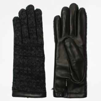 Agnelle Keiko Black Leather & Knit Gloves