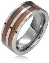 Bling Jewelry Tungsten Wood Inlay Double Row Mens Band Ring