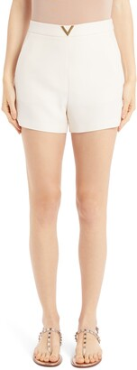 Valentino VLOGO Wool & Silk Crepe Couture Shorts