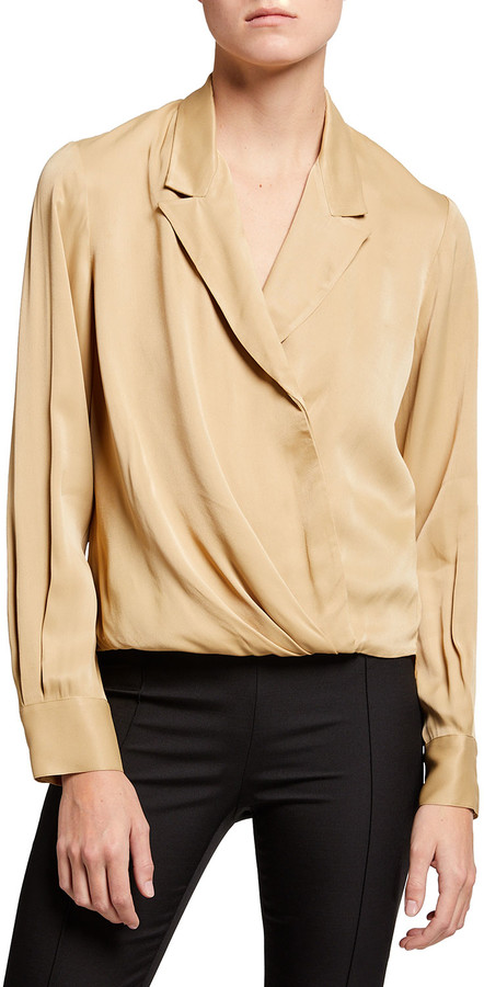 3.1 Phillip Lim Long-Sleeve Satin Tuxedo Blouse
