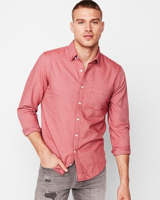 Express Slim Solid Soft Wash Oxford Shirt
