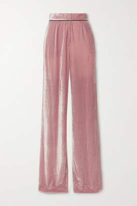 SLEEPING WITH JACQUES Piped Velvet Pajama Pants - Blush