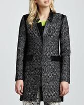 Nanette Lepore Leather-Trim Tweed Coat