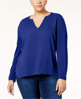 INC International Concepts I.n.c. Plus Size Split-Neck Top, Created for Macy's