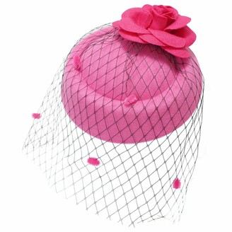 Ro Rox Ruby Rose Net Vintage 1940's 1950's Fascinator Classic Wedding Party Hat - Hot Pink