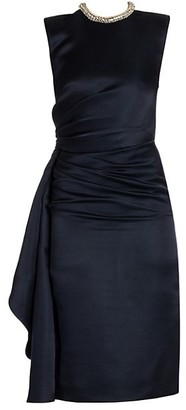 Alexander McQueen Crystal Rope Drape Silk Dress