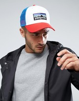 Patagonia P-6 Logo Trucker Cap In White/red/blue