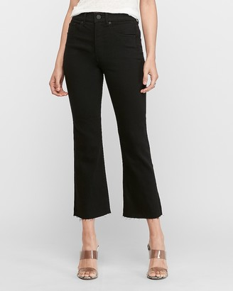 Express High Waisted Black Cropped Flare Jeans