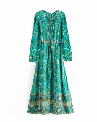 Top Vigor TOP-VIGOR Women's Casual Boho Dresses for Women Bohemian Long Sleeve Floral Print Retro Neck Tie Beach Style Long Midi Dress Dark Green