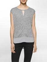 Calvin Klein Heathered Keyhole Short Sleeve Top